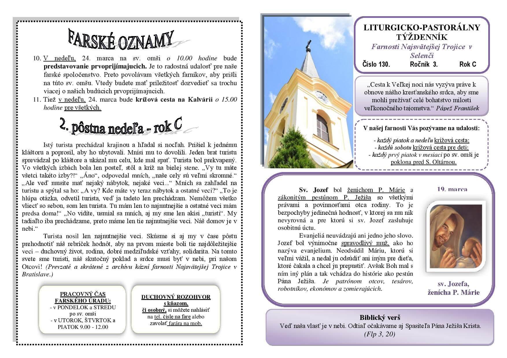 e901eaeb9 Nový farský lístok na 2. pôstnu nedeľu v roku C - Najsvätejšej ...